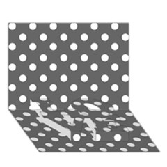 Gray Polka Dots Love Bottom 3d Greeting Card (7x5)