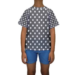 Gray Polka Dots Kid s Short Sleeve Swimwear