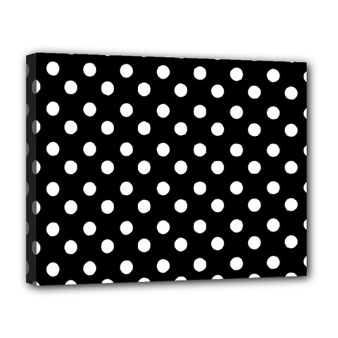 Black And White Polka Dots Canvas 14  X 11  by creativemom