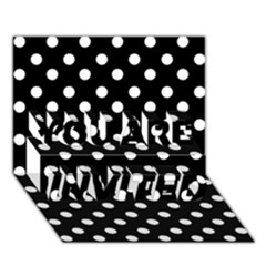 Black And White Polka Dots You Are Invited 3d Greeting Card (7x5)  by creativemom