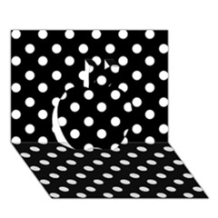 Black And White Polka Dots Apple 3d Greeting Card (7x5)  by creativemom