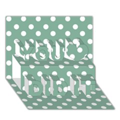 Mint Green Polka Dots You Did It 3d Greeting Card (7x5) by creativemom
