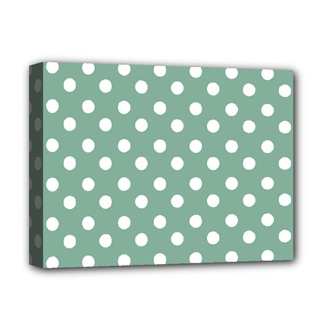 Mint Green Polka Dots Deluxe Canvas 16  X 12   by creativemom