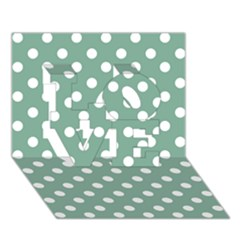 Mint Green Polka Dots Love 3d Greeting Card (7x5)