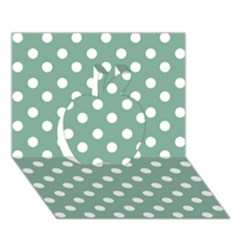 Mint Green Polka Dots Apple 3d Greeting Card (7x5)