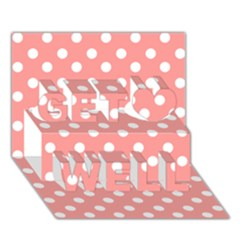 Coral And White Polka Dots Get Well 3d Greeting Card (7x5)