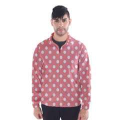 Coral And White Polka Dots Wind Breaker (men)