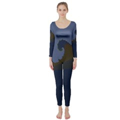 Ocean Waves Long Sleeve Catsuit by theunrulyartist