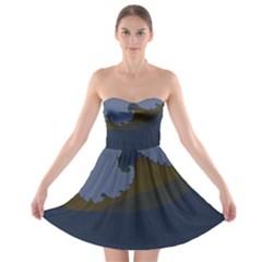 Ocean Waves Strapless Bra Top Dress by digitaldivadesigns