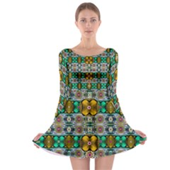 Rainbow Flowers And Decorative Peace  Long Sleeve Skater Dress by pepitasart