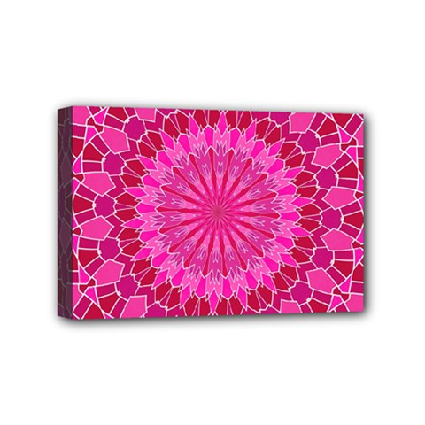 Pink And Red Mandala Mini Canvas 6  X 4  by LovelyDesigns4U