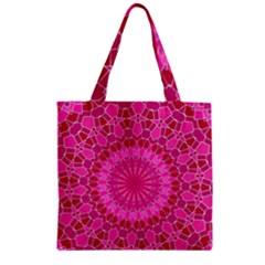 Pink And Red Mandala Zipper Grocery Tote Bags by LovelyDesigns4U