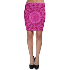 Pink And Red Mandala Bodycon Skirts by LovelyDesigns4U