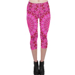 Pink And Red Mandala Capri Leggings by LovelyDesigns4U