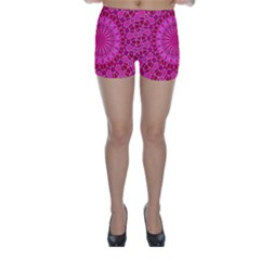 Pink And Red Mandala Skinny Shorts by LovelyDesigns4U