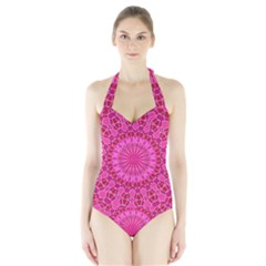 Pink And Red Mandala Women s Halter One Piece Swimsuit by LovelyDesigns4U