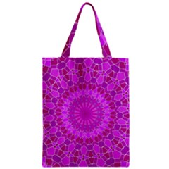 Purple And Pink Mandala Zipper Classic Tote Bags by LovelyDesigns4U