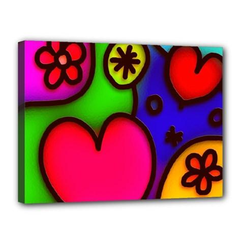 Colorful Modern Love 2 Canvas 16  X 12  by MoreColorsinLife