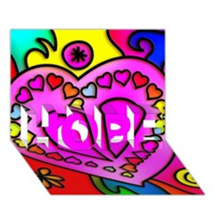 Colorful Modern Love Hope 3d Greeting Card (7x5)