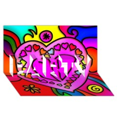 Colorful Modern Love Party 3d Greeting Card (8x4)  by MoreColorsinLife