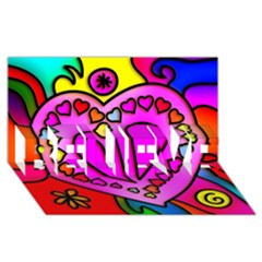 Colorful Modern Love Believe 3d Greeting Card (8x4)