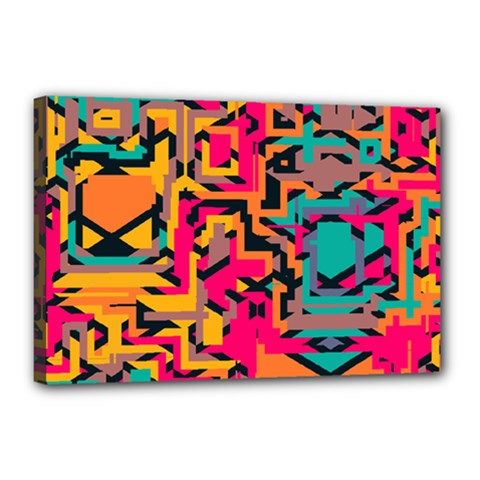 Colorful Shapes Canvas 18  X 12  (stretched) by LalyLauraFLM