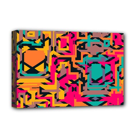 Colorful Shapes Deluxe Canvas 18  X 12  (stretched) by LalyLauraFLM