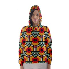 Triangles And Hexagons Pattern Hooded Wind Breaker (women) by LalyLauraFLM