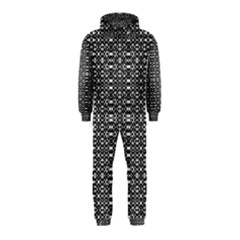 Black and White Geometric Tribal Pattern Hooded Jumpsuit (Kids) by dflcprintsclothing