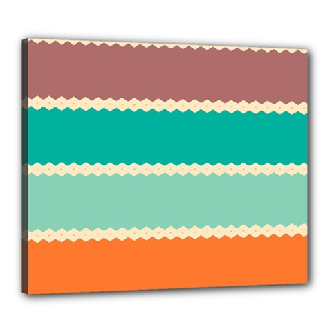 Rhombus And Retro Colors Stripes Pattern Canvas 24  X 20  (stretched) by LalyLauraFLM