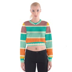 Rhombus And Retro Colors Stripes Pattern   Women s Cropped Sweatshirt