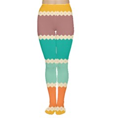 Rhombus and retro colors stripes pattern Tights by LalyLauraFLM