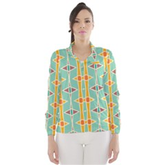 Rhombus Pattern In Retro Colors  Wind Breaker (women)