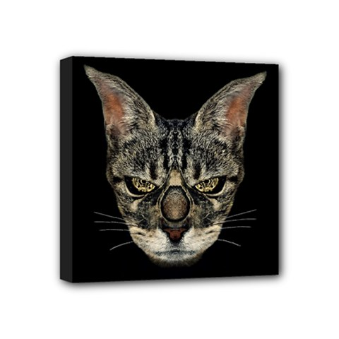 Angry Cyborg Cat Mini Canvas 4  X 4  by dflcprints