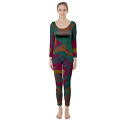 Geometric shapes in retro colors  Long Sleeve Catsuit by LalyLauraFLM