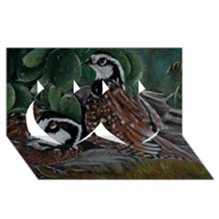 Bobwhite Quails Twin Hearts 3d Greeting Card (8x4)  by timelessartoncanvas