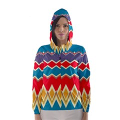 Chevrons and rhombus Hooded Wind Breaker (Women)