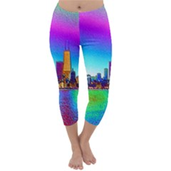 Chicago Colored Foil Effects Capri Winter Leggings  by canvasngiftshop