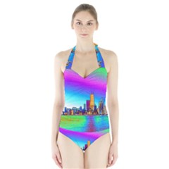 Chicago Colored Foil Effects Women s Halter One Piece Swimsuit