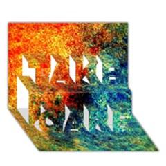 Orange Blue Background Take Care 3d Greeting Card (7x5)  by Costasonlineshop
