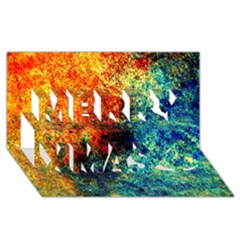 Orange Blue Background Merry Xmas 3d Greeting Card (8x4)