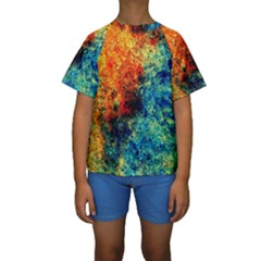 Orange Blue Background Kid s Short Sleeve Swimwear