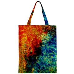 Orange Blue Background Zipper Classic Tote Bags by Costasonlineshop