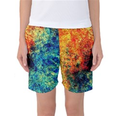 Orange Blue Background Women s Basketball Shorts