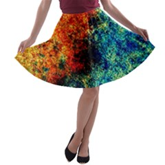 Orange Blue Background A Line Skater Skirt by Costasonlineshop
