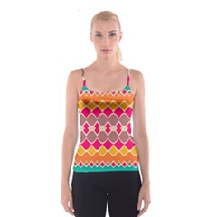 Symmetric Shapes In Retro Colors Spaghetti Strap Top by LalyLauraFLM
