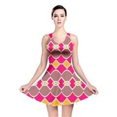Symmetric Shapes In Retro Colors Reversible Skater Dress by LalyLauraFLM