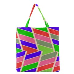 Symmetric Distorted Rectangles Grocery Tote Bag by LalyLauraFLM