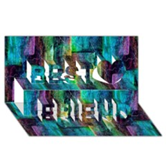 Abstract Square Wall Best Friends 3d Greeting Card (8x4)  by Costasonlineshop