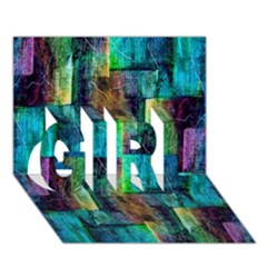 Abstract Square Wall Girl 3d Greeting Card (7x5)  by Costasonlineshop
